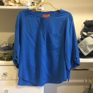 Teal Henley style blouse